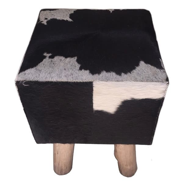 Admirable Shop Square Stool Pouf Bruno With Black White Cowhide Evergreenethics Interior Chair Design Evergreenethicsorg