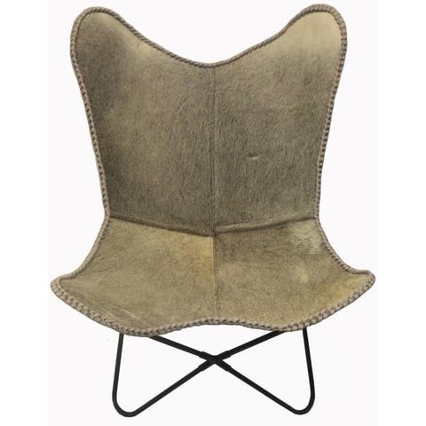 Butterfly Chair LADY in Grey Cowhide