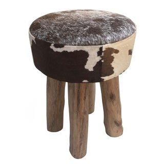 Brown/White Cowhide Leather/Wood Round Stool