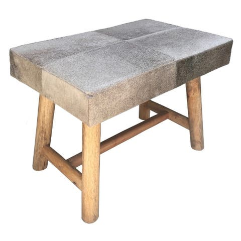 RIFT Grey Cow Hide Bench with Rustic Wooden Legs