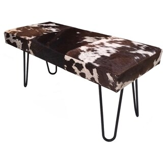 Vida Modern Brown/White Cowhide Upholstered Bench