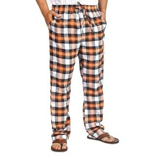 ProTouch Mens Super Flannel Plaid Pajama Drawstring Orange White