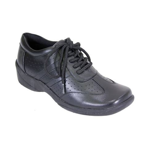 24 HOUR COMFORT Donna Women Wide Width Leather Lace Up Everyday Shoes