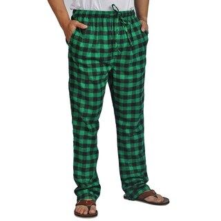 ProTouch Mens Super Flannel Plaid Pajama Drawstring Black Green