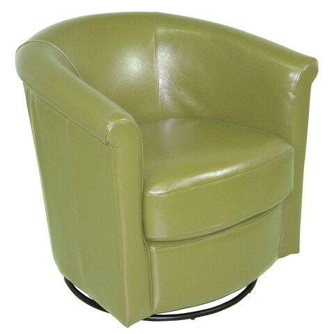 """Porter Designs Marvel Contemporary Leather-Look Swivel Accent Chair, Lime Green - 29""""H x 31""""D x 31""""W"""