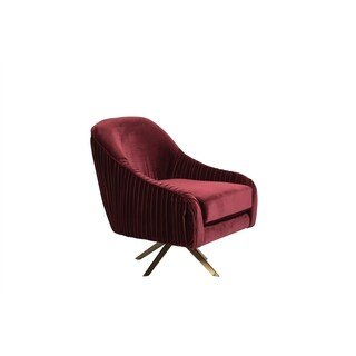 Porter Designs Eloise Pleated Ruby Red Microfiber Swivel Accent Chair