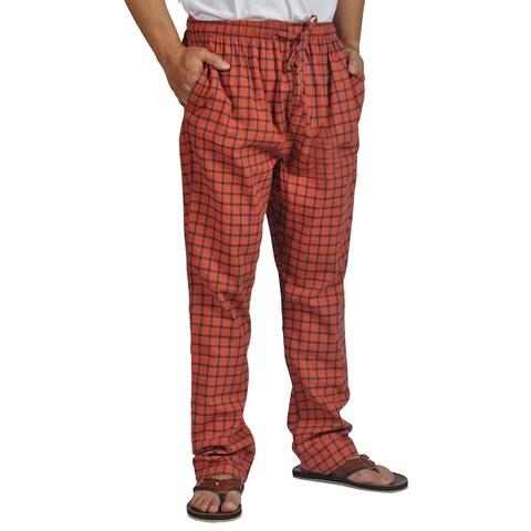 ProTouch Mens Super Flannel Plaid Pajama Drawstring Orange Navy