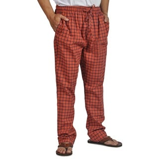 ProTouch Mens Super Flannel Plaid Pajama Drawstring Orange Navy