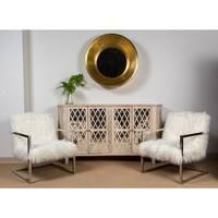 Porter Designs Zsa Zsa White Faux Llama Fur and Metal Accent Chair