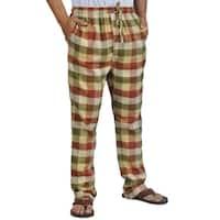 ProTouch Mens Super Flannel Plaid Pajama Drawstring Beige Olive