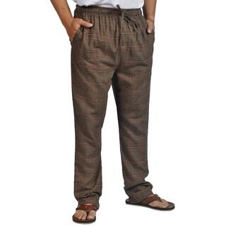 ProTouch Mens Super Flannel Plaid Pajama Drawstring Brown