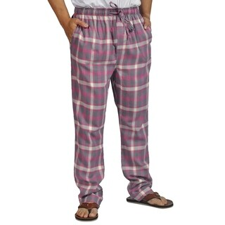 ProTouch Mens Super Flannel Plaid Pajama Drawstring Pink Gray