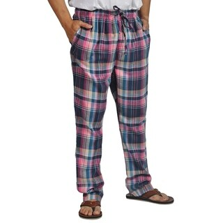 ProTouch Mens Super Flannel Plaid Pajama Drawstring Purple Navy
