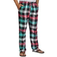 ProTouch Mens Super Flannel Plaid Pajama Drawstring Black Fuchsia