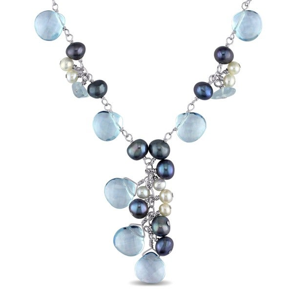 M by Miadora Pearls Silver Topaz Pearls Cultured FW Pearl Necklace