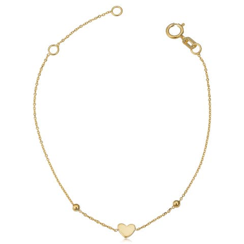 Fremada Italian 14k yellow gold heart and bead children's bracelet (fits 5.5 or 6.5 inches)