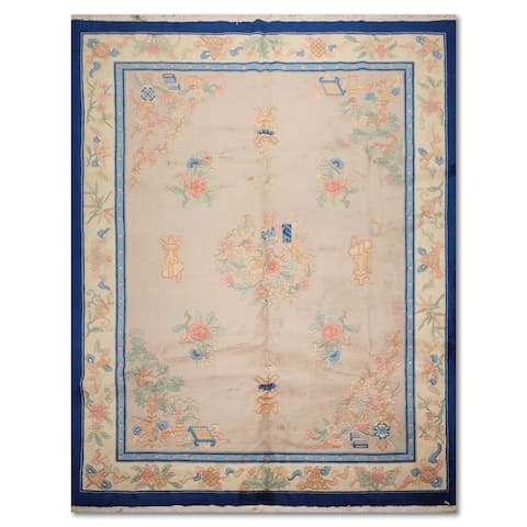 Hand-Knotted Chinese Art Deco 100% Wool Thick Pile Aubusson Area Rug - Taupe/Ivory, - 9' x 12'