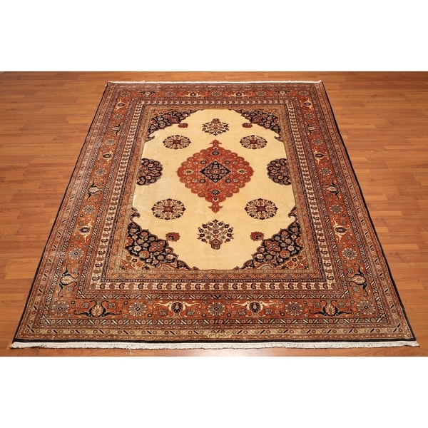 Shop Classical Kashan Medallion Hand Knotted Persian Wool: Shop Hand-Knotted Tabriz Medallion 100% Wool Persian