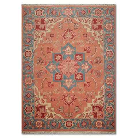 """Hand-Knotted Romanian Heriz Medallion Pure Wool Persian Area Rug - Pale Pink/Aqua, - 8'11"""" x 11'10"""""""