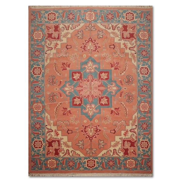 Hand Knotted Heriz Wool Fine Persian Oriental Area Rug: Shop Hand-Knotted Romanian Heriz Medallion Pure Wool