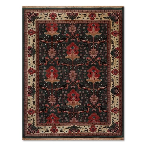 """9'3"""" x 12'2"""" Hand knotted William Morris Art & Craft Area Rug - Deep Green/Ivory, - 9'3"""" x 12'2"""""""