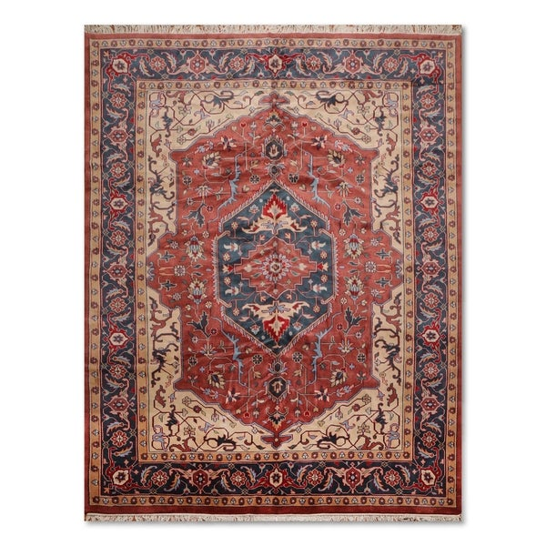 Hand Knotted Heriz Wool Fine Persian Oriental Area Rug: Shop Hand-Knotted Romanian Heriz Pure Wool Persian Area