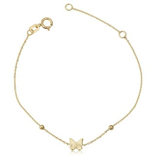 Fremada Italian 14k Yellow Gold Butterfly and Bead Children's Bracelet (fits 5.5 or 6.5 inches)
