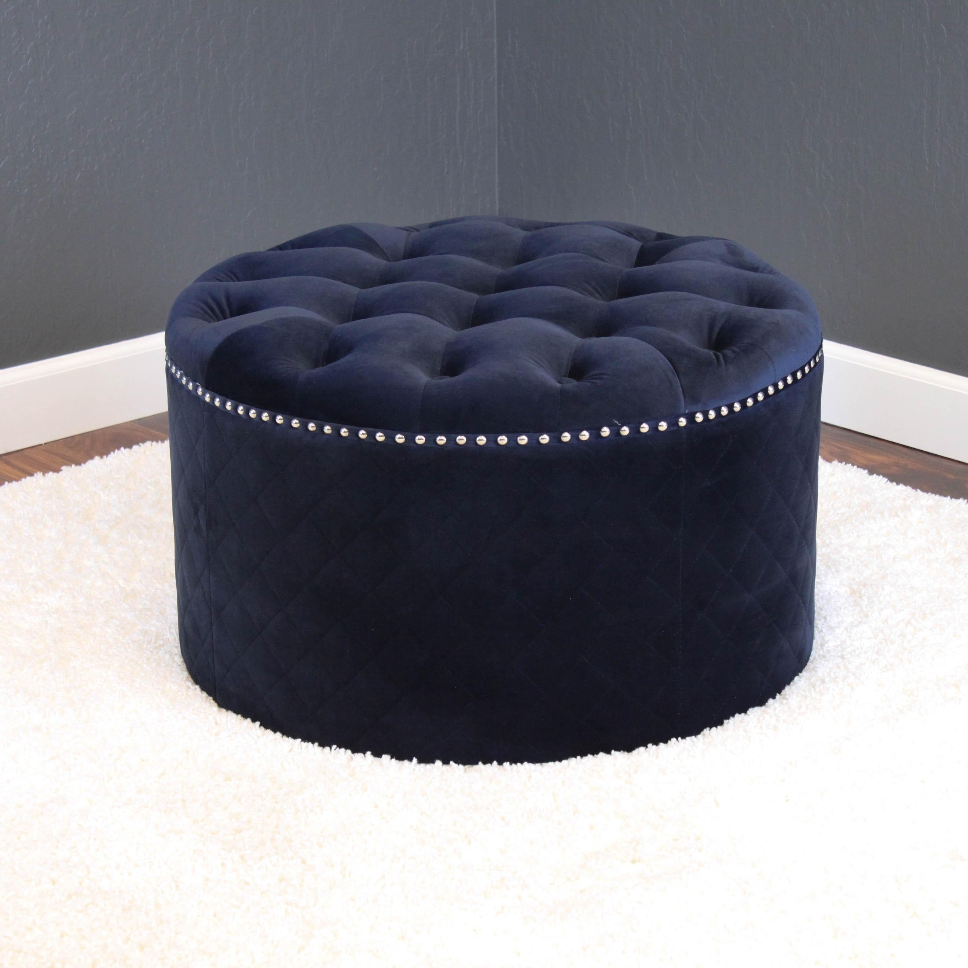 Pleasant Lemele 27 Round Velvet Ottoman Caraccident5 Cool Chair Designs And Ideas Caraccident5Info