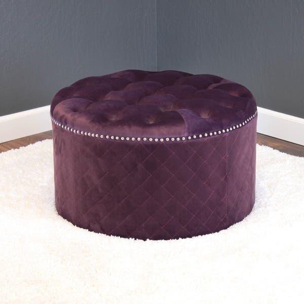 Fantastic Shop Lemele 27 Round Velvet Ottoman On Sale Free Theyellowbook Wood Chair Design Ideas Theyellowbookinfo