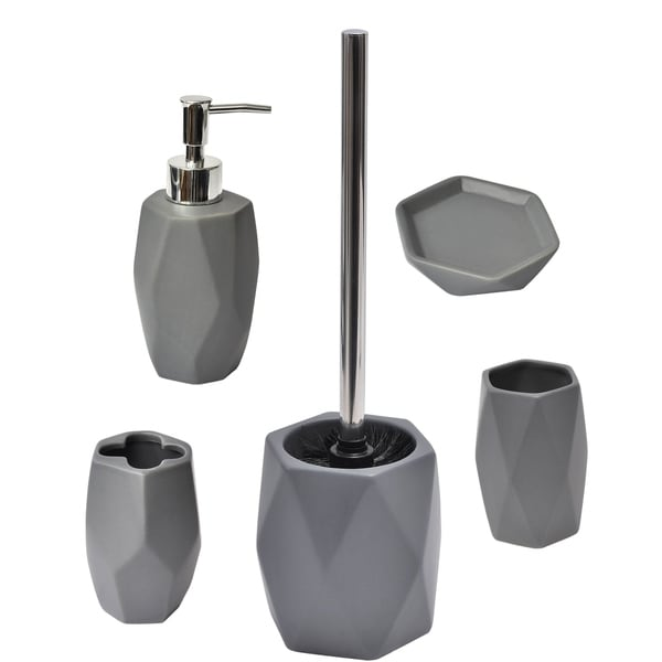 Evideco Diamond Collection Bathroom Accessory Set 5-Pieces Grey