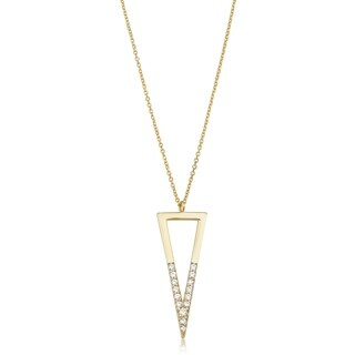 Fremada 14k Yellow Gold Genuine Swarovski Cubic Zirconia Inverted Triangle Necklace (adjusts to 17 or 18 inches)
