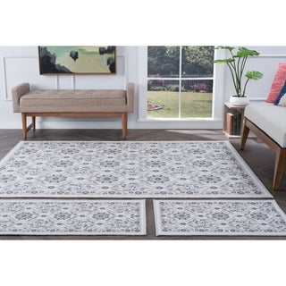 Alise Rugs Majolica Transitional Floral Four Piece Set - 7'6 x 9'10