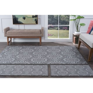 Alise Rugs Majolica Transitional Geometric Four Piece Set - 7'6 x 9'10