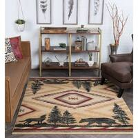 Alise Rugs Natural Lodge Novelty Lodge Area Rug - 3'11 x 5'3