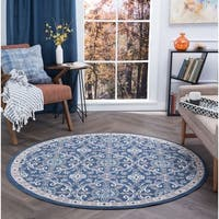 Alise Rugs Hamilton Traditional Brocade Round Area Rug - 5'3 x 5'3