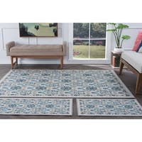 Alise Rugs Majolica Transitional Floral Area Rug 3 Piece Set - 5' x 7'