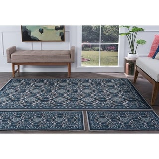 Alise Rugs Majolica Transitional Floral Three Piece Set - 5' x 7'