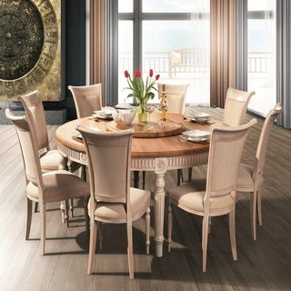 BADI Solid Wood Round Dining Table - Natural OAK/White