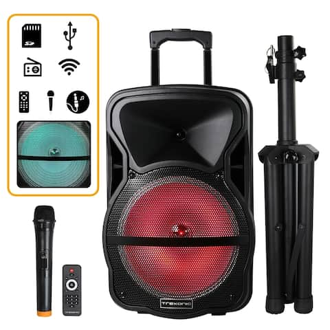 Trexonic Combination 12 Inch Bluetooth Portable Speaker and Tripod Stand with Reactive Lights/FM Radio and USB/TF Inputs