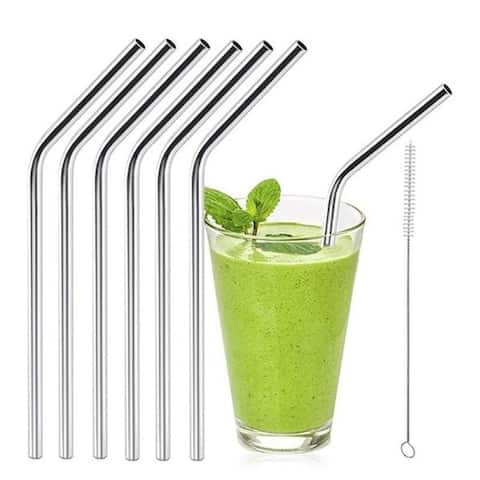 F.S.D 6pcs Reusable Stainless Steel Drinking Straws