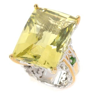 Michael Valitutti Palladium Silver Ouro Verde Chrome Diopside Hammered Ring