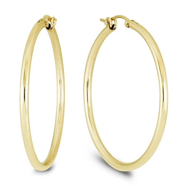 9625ca5bcc36 Shop 14K Yellow Gold Filled Hoop Earrings (41mm) - On Sale - Free ...