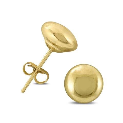 14K Yellow Gold 5mm Button Ball Stud Earrings