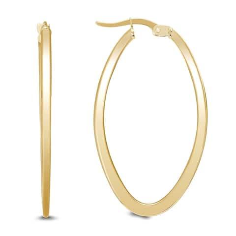 35 MM Oval Hoop Earrings in 14K Yellow Gold