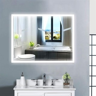 Vanity Art 36-Inch LED Lighted Illuminated Bathroom Vanity Wall Mirror with Sensor Switch, Horizontal  Rectangle White Mirrors