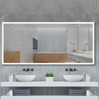"Vanity Art 60"" LED Lighted Illuminated Bathroom Vanity Wall Mirror with Sensor Switch, Horizontal Rectangle White Mirrors"