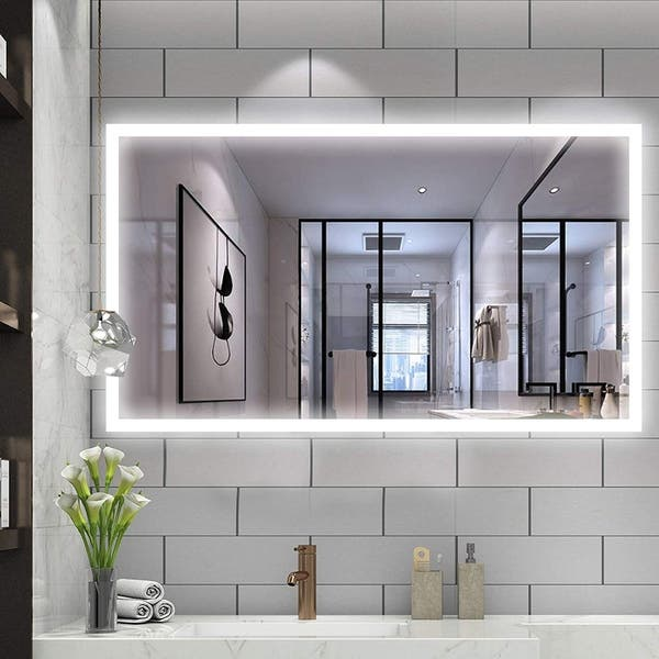 Shop Vanity Art 48 Led Lighted Illuminated Bathroom Vanity Wall Mirror With Sensor Switch Horizontal Rectangle White Mirrors On Sale Overstock 22572514