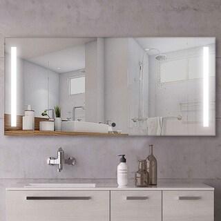 "Vanity Art 60"" LED Lighted Illuminated Bathroom Vanity Wall Mirror with Sensor Switch, Horizontal Rectangle White Mirrors"