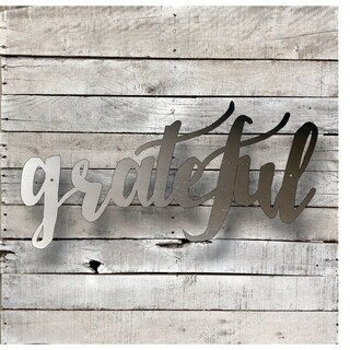 Grateful Word Art - Natural Steel Wall Décor