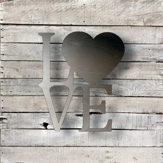 Love Word Art Heart - Natural Steel Wall Décor